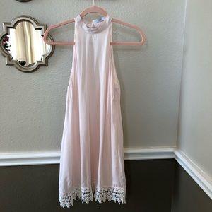 TOBI blush pink halter dress with lace trim